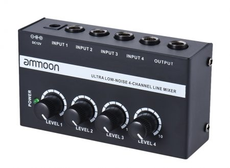 Ammoon MX400 Audio Mixer, Mixer a 4 canali ultra compatto